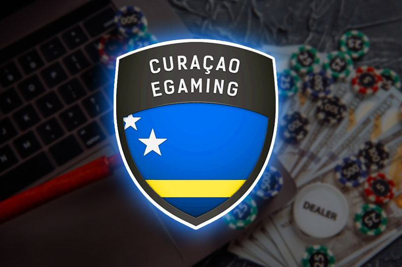 Curacao Egaming badge with gambling background
