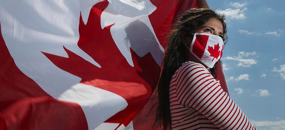 A girl with Canadian flag